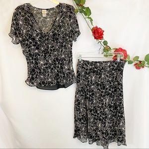 Covington Blouse Skirt Set Flowy Floral Spring